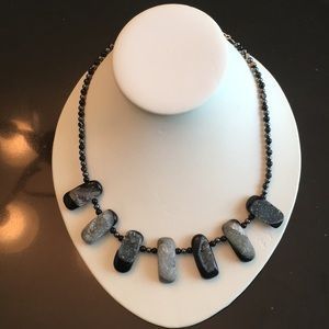 Druzy Quartz, Onyx, and Hematite necklace